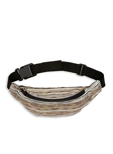 Striped Metallic Detail Fanny Pack,GRAY,large