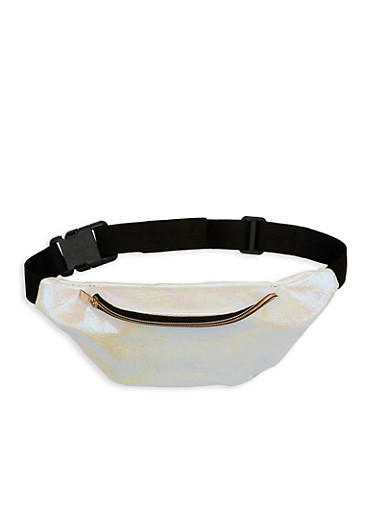 Iridescent Scale Fanny Pack,WHITE,large