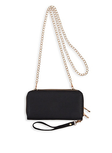 Double Zip Chain Crossbody Wallet,BLACK,large