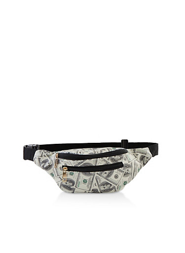 Money Graphic Fanny Pack,WHITE,large