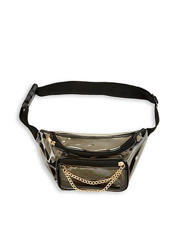 Chain Detail Clear Fanny Pack,GRAY,large