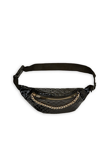 Faux Patent Leather Quilted Fanny Pack,BLACK,large