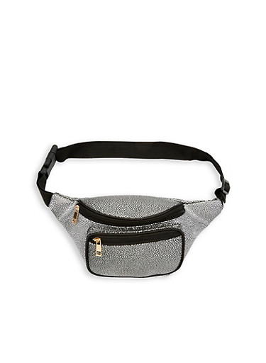 Textured Faux Leather Fanny Pack,SILVER,large