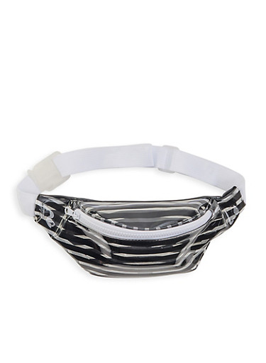 Clear Striped Fanny Pack,BLACK,large