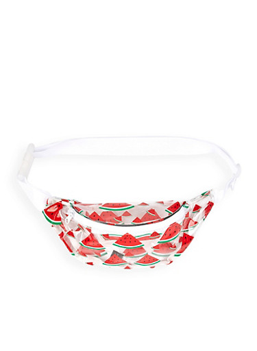 Clear Watermelon Print Fanny Pack,RED,large