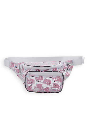 Flamingo Print Clear Fanny Pack,PINK,large