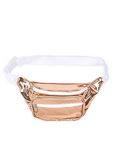 Mirrored Metallic Glitter Fanny Pack,ROSE,large