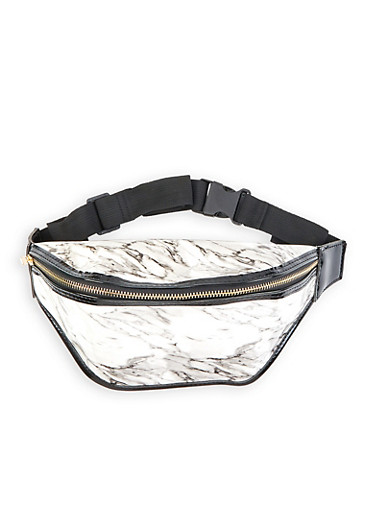 Marbled Faux Leather Fanny Pack,WHITE,large