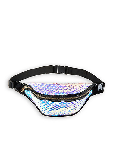 Iridescent Embossed Fanny Pack,MULTI COLOR,large