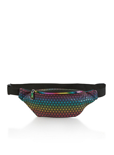Multi Color Geometric Print Fanny Pack,BLACK,large