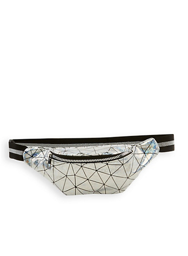 Holographic Prism Fanny Pack,SILVER,large