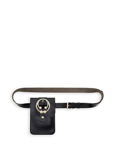 Faux Pearl Buckle Belt Bag,BLACK,large