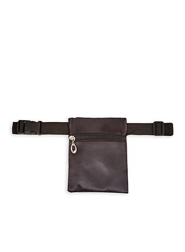 Square Satin Belt Bag,BLACK,large