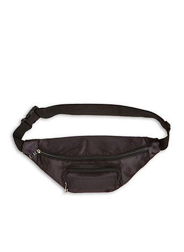 Satin Double Zip Fanny Pack,BLACK,large