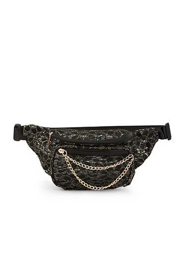 Chain Zip Lace Fanny Pack,BLACK,large
