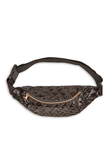 Quilted Sequin Fanny Pack,BLACK,large