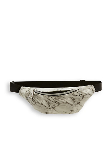 Marbled Fanny Pack,WHITE,large