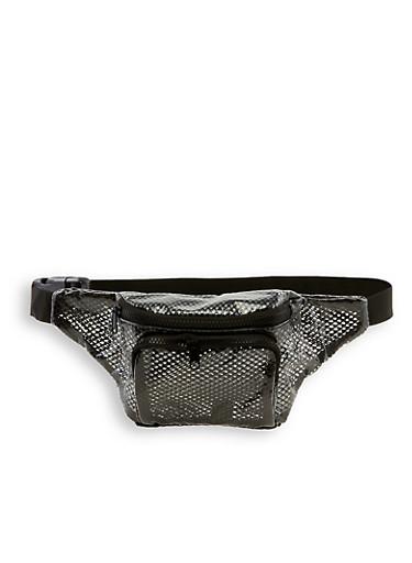 Clear Fishnet Double Zip Fanny Pack,BLACK,large