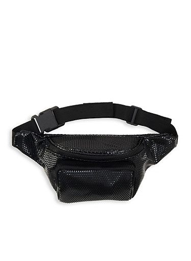 Embossed Faux Leather Fanny Pack,BLACK,large