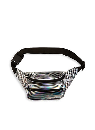 Rainbow Dotted Fanny Pack,SILVER,large