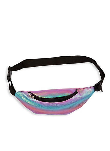 Textured Iridescent Fanny Pack,MULTI COLOR,large