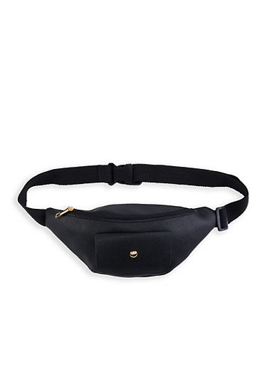 Textured Faux Leather Front Pocket Fanny Pack,BLACK,large