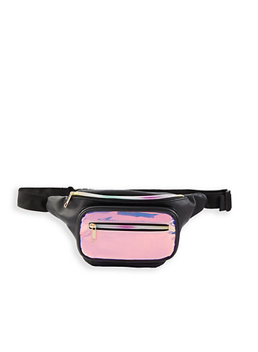 Iridescent Front Pouch Fanny Pack,BLACK,large