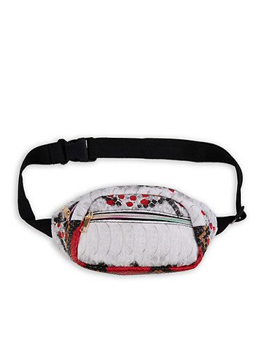 Printed Textured Faux Leather Fanny Pack,RED,large