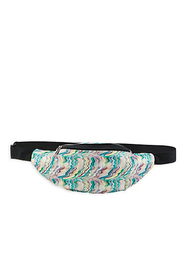 Glitter Abstract Print Fanny Pack,GREEN,large