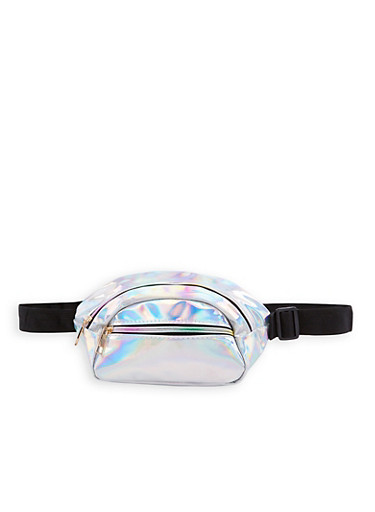 Double Zip Faux Patent Leather Fanny Pack,SILVER,large