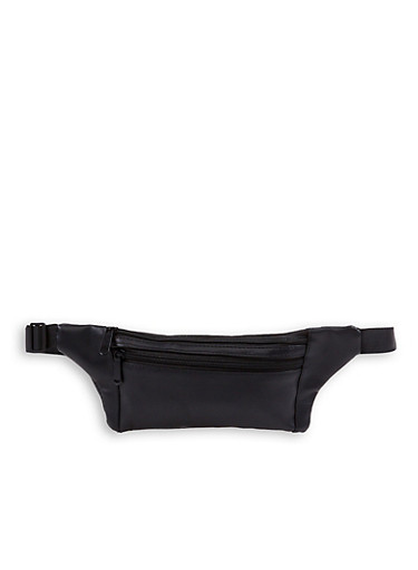 Double Zip Faux Leather Fanny Pack,BLACK,large