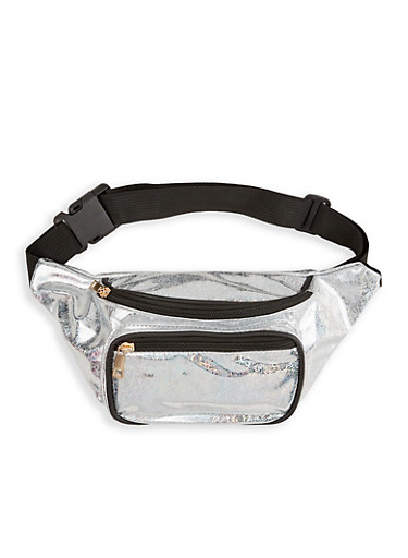 Holographic Confetti Print Fanny Pack,SILVER,large