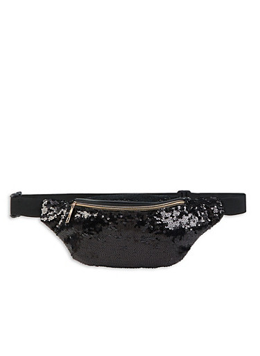 Sequined Fanny Pack,BLACK,large