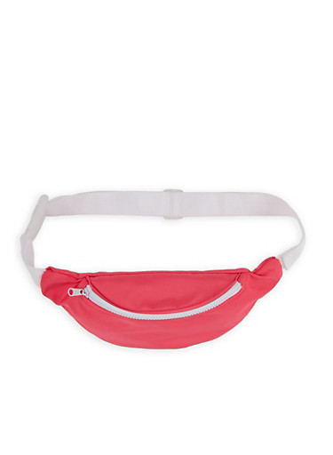 Neon Nylon Fanny Pack,NEON PINK,large