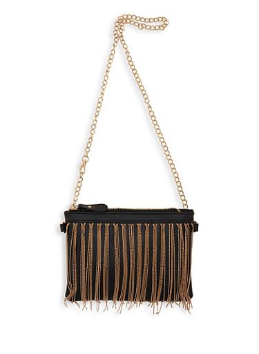 Metallic Fringe Faux Leather Crossbody Bag,BLACK,large