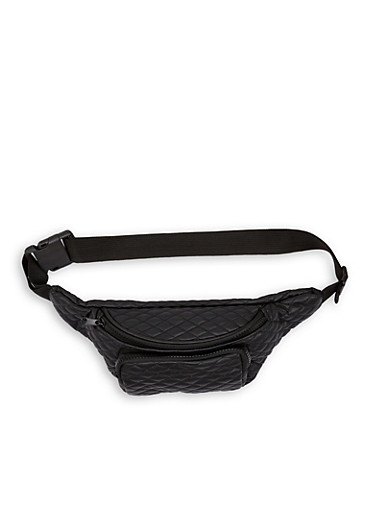 Quilted Double Zip Fanny Pack,BLACK,large