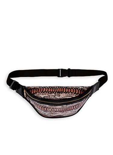 Iridescent Snake Print Fanny Pack,BROWN,large