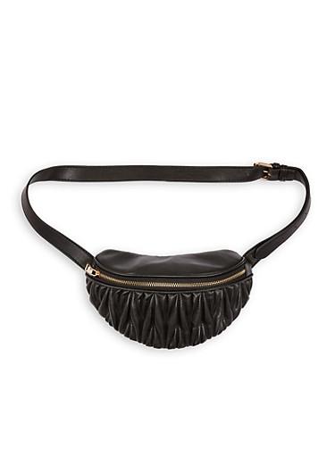 Ruched Faux Leather Belt Bag,BLACK,large
