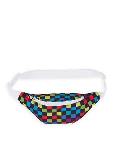 Multi Color Checkered Fanny Pack,MULTI COLOR,large