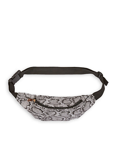 Snake Print Faux Leather Fanny Pack,BLACK,large