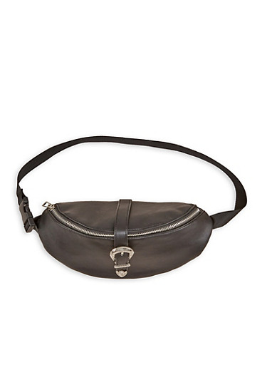 Buckle Snap Faux Leather Fanny Pack,BLACK,large