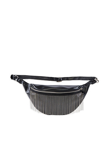 Beaded Fringe Faux Leather Fanny Pack,BLACK,large