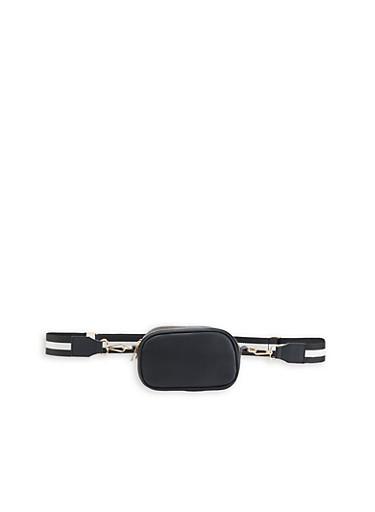 Striped Strap Belt Bag,BLACK,large