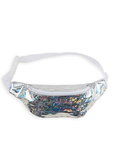 Holographic Confetti Zip Fanny Pack,SILVER,large
