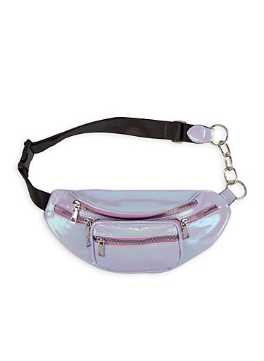 Iridescent Textured Faux Leather Fanny Pack,MULTI COLOR,large