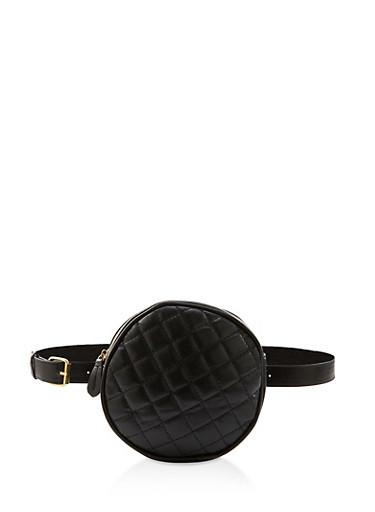 Round Quilted Belt Bag,BLACK,large