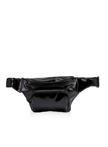 Coated Textured Fanny Pack,BLACK,large
