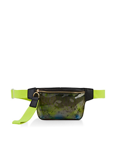 Clear Printed Singe Zip Fanny Pack,MULTI COLOR,large
