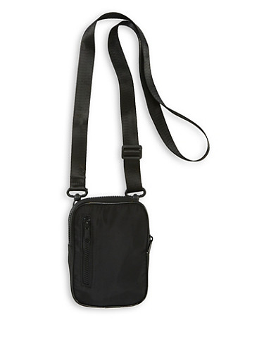Nylon Zip Crossbody Bag,BLACK,large