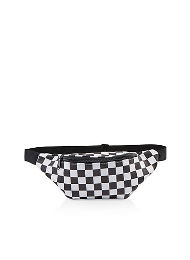 Checkered Faux Leather Fanny Pack,BLACK/WHITE,large